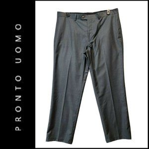 Pronto Uomo Modern Fit Flat Front Gray Dress Pants